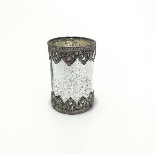 Castiçal de Vidro Prata com Borda de Metal