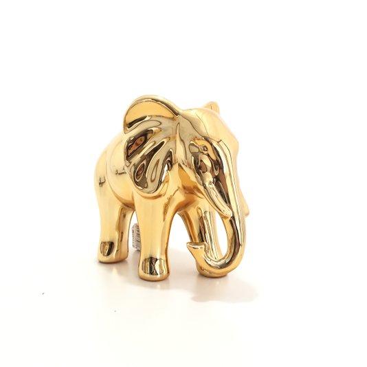 Decoração Elefante de Cerâmica Dourado G