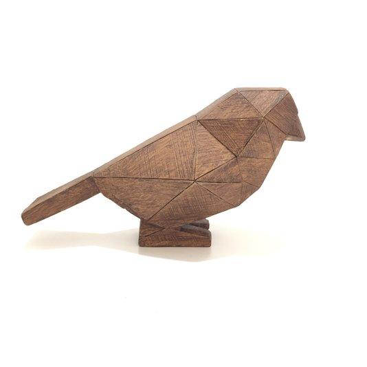 Decoração Pássaro de Resina Estilo Madeira