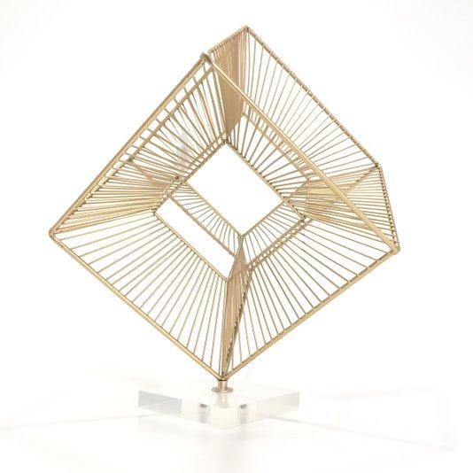 Escultura de Metal Tridimensional Base de Acrilico