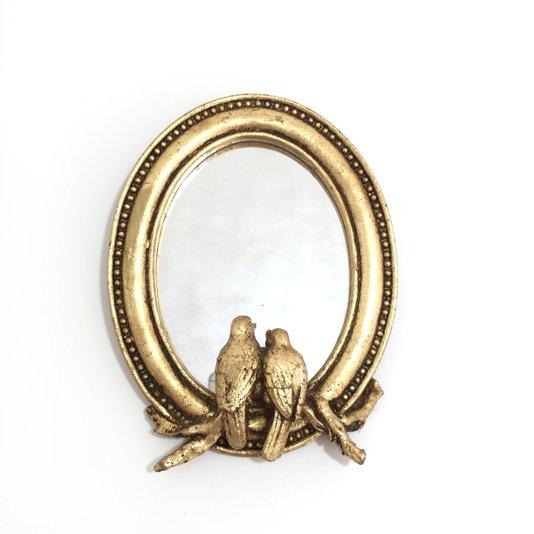 Espelho Oval Dourado 2 Pássaros