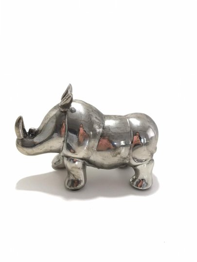 Rinoceronte de Resina Prata P