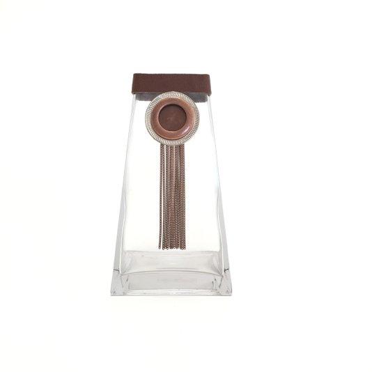 Vaso de Vidro Estilo Pirâmide com Correntes M