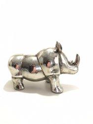 Rinoceronte de Resina Prata M